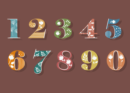 Floral Numerals. Colorful Symbols with white decor and silhouettes of Graceful Flowers. Illustration Stok Fotoğraf