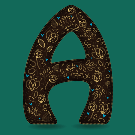 The Letter A with Golden Floral Decor. Dark brown symbol. Yellow flowers and plants with metallic blazing effect. Blue small hearts. Vector Illustration