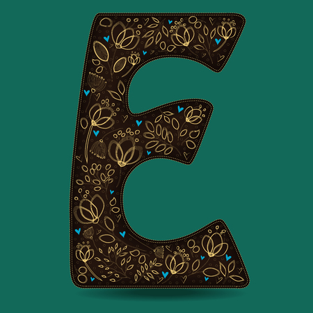 The Letter E with Golden Floral Decor. Dark brown symbol. Yellow flowers and plants with metallic blazing effect. Blue small hearts. Vector Illustration