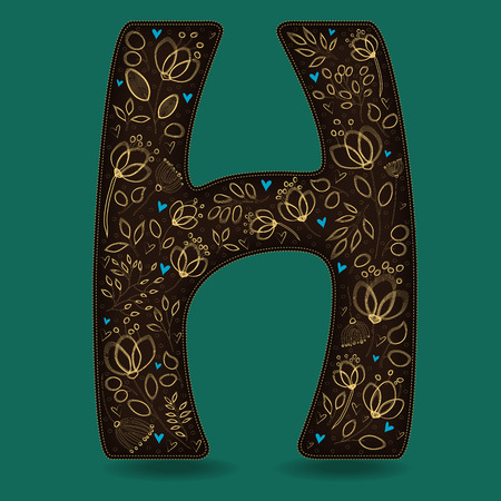 fiery: The Letter H with Golden Floral Decor. Dark brown symbol. Yellow flowers and plants with metallic blazing effect. Blue small hearts. Vector Illustration