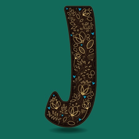 The Letter J with Golden Floral Decor. Dark brown symbol. Yellow flowers and plants with metallic blazing effect. Blue small hearts. Vector Illustration