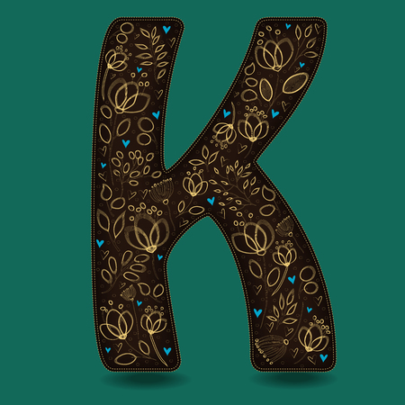 typo: The Letter K with Golden Floral Decor. Dark brown symbol. Yellow flowers and plants with metallic blazing effect. Blue small hearts. Vector Illustration
