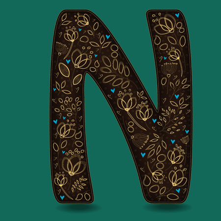 The Letter N with Golden Floral Decor. Dark brown symbol. Yellow flowers and plants with metallic blazing effect. Blue small hearts. Vector Illustration Illustration