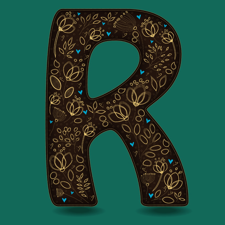 The Letter R with Golden Floral Decor. Dark brown symbol. Yellow flowers and plants with metallic blazing effect. Blue small hearts. Vector Illustration