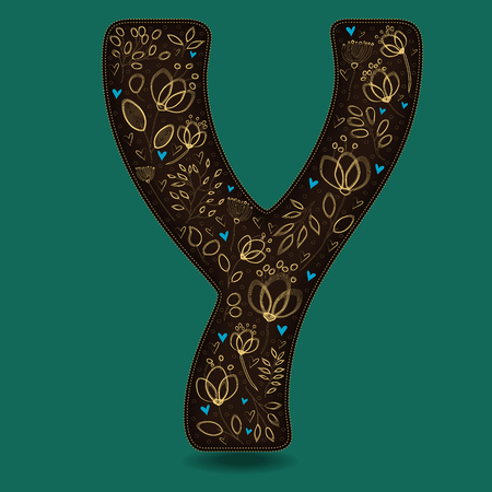 The Letter Y with Golden Floral Decor. Dark brown symbol. Yellow flowers and plants with metallic blazing effect. Blue small hearts. Vector Illustration
