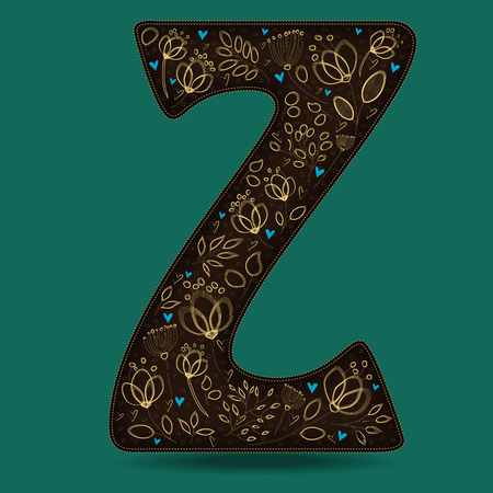 The Letter Z with Golden Floral Decor. Dark brown symbol. Yellow flowers and plants with metallic blazing effect. Blue small hearts. Vector Illustration