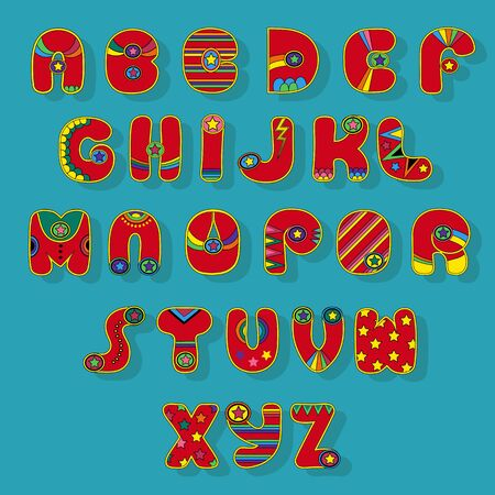 Superhero Alphabet. Red letters with yellow strokes and colorful decor - stars and strips. Vector Illustration