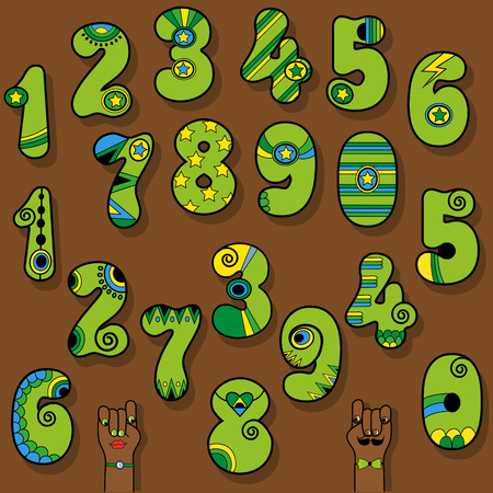 Set of Vintage Numerals. Green numbers with bright colorful decor. Superhero and Disco Style. Cartoon Hands. Illustration Stock Photo