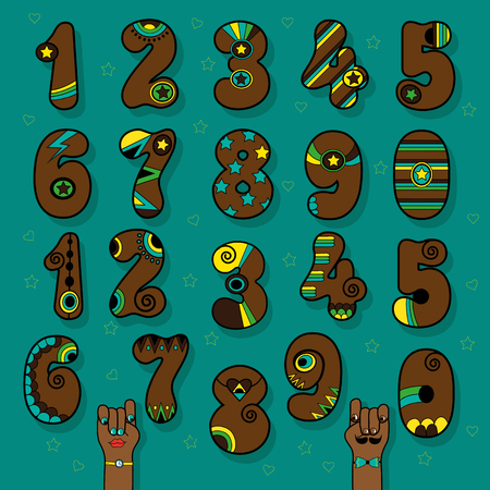 Set of Vintage Numerals. Brown symbols with bright colorful decor. Superhero and Disco Style. Cartoon Hands. Illustration