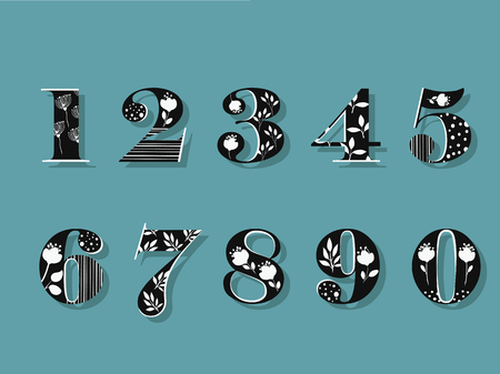 Set of black and white floral numerals. Vector illustration