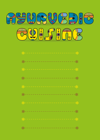 Ayurvedic Cuisine. Menu Card. Blue and Yellow Text by Artstic font. Place for custom text. Green Background Banco de Imagens - 80058169
