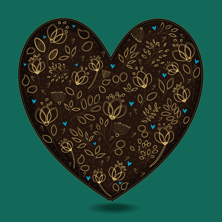 Vintage Dark Brown Heart with Golden Floral Decor. Yellow graceful flowers and plants. Blue small hearts. Green background. Vector Illustration