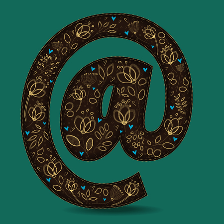 Vintage Dark Brown Symbol At with Golden Floral Decor. Yellow graceful flowers and plants. Blue small hearts. Green background. Vector Illustration