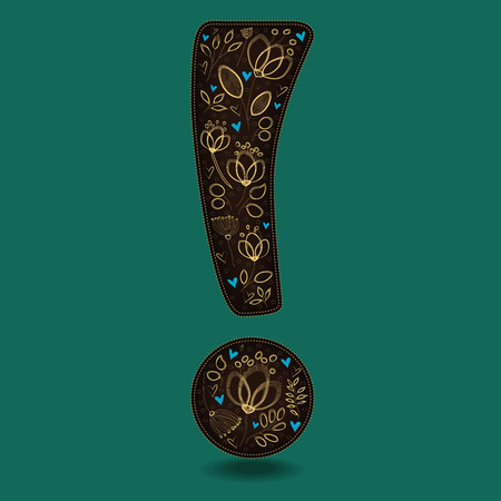 Vintage Dark Brown Exclamation Point with Golden Floral Decor. Yellow graceful flowers and plants. Blue small hearts. Green background. Vector Illustration