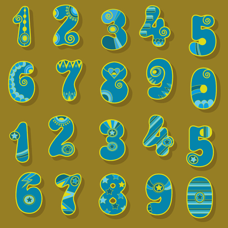 Artistic Numerals. Purple signs with bright blue and yellow decor. Scandinavian Style. Illustration