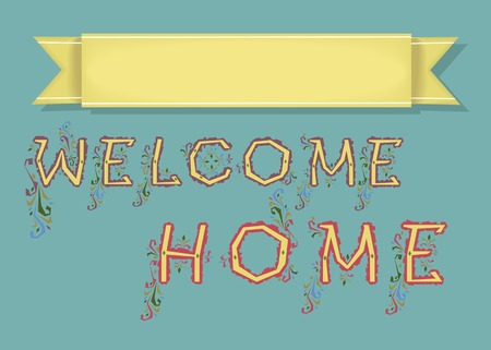 custom letters: Welcome. Blue Card with Yellow Banner for custom text. Yellow Letters with floral decor Stock Photo