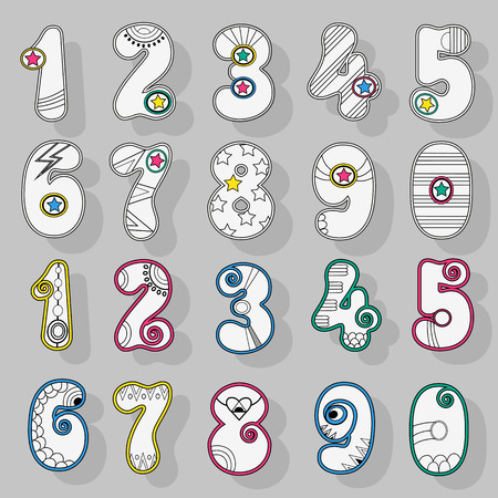 Set of artistic Numerals. White signs with bright colorful decor. Superhero and Disco Style. Illustration