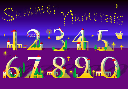 Summer Numbers Signs Are As White And Yellow Houses With Red