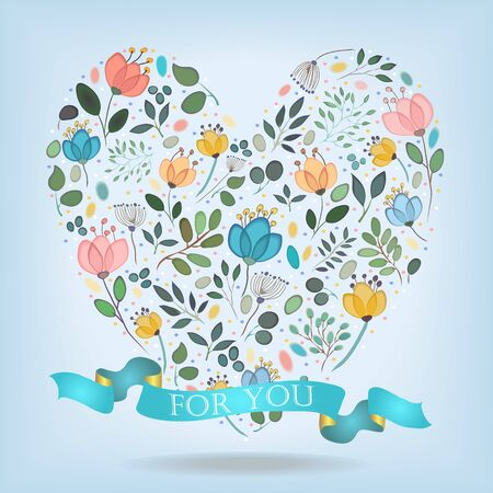 orange roses: Floral Heart. Watercolor graceful flowers, plants and blurs. Blue ribbon with golden back and white text. Vector Illustration