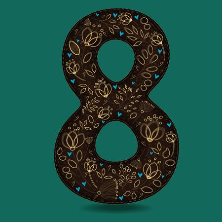 Number Eight with Retro Golden Floral Decor. Dark brown numeral. Yellow flowers and plants with drown effect. Blue small hearts. Stock Photo