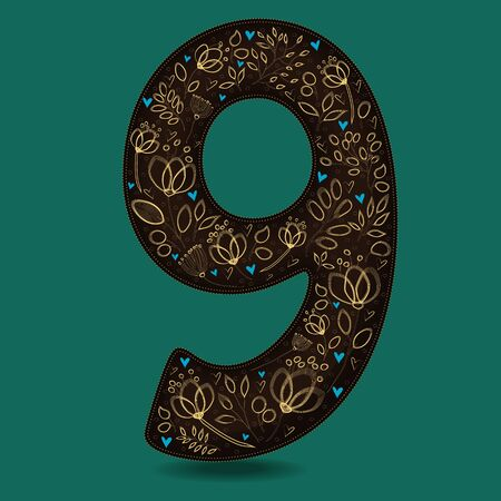 Number Nine with Romantic Golden Floral Decor. Dark brown numeral. Yellow flowers and plants with drown effect. Blue small hearts. Stock Photo