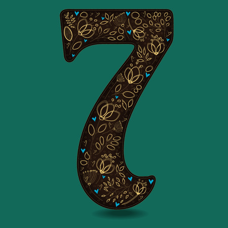 Number Seven with Vintage Golden Floral Decor. Dark brown numeral. Yellow flowers and plants with drown effect. Blue small hearts. Illustration Stock Photo