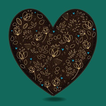 brown: Vintage Dark Brown Heart with Golden Floral Decor. Yellow graceful flowers and plants. Blue small hearts. Green background. Illustration Stock Photo