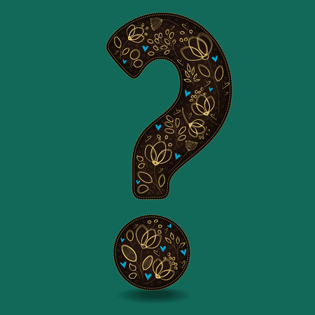 Vintage Dark Brown Question Mark with Golden Floral Decor. Yellow graceful flowers and plants. Blue small hearts. Green background. Illustration