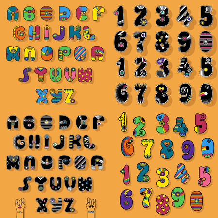 Set of Letters and Numbers. Colorful and Black Vintage Disco Alphabets with Bright Decor. Cartoon hands looking at each other. Vector Illustration