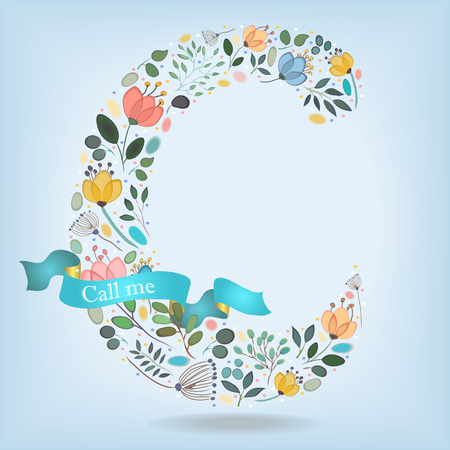 Floral Letter C. Watercolor graceful flowers, plants and blurs. Blue ribbon with golden back and white text Call me. Vector Illustration Illustration