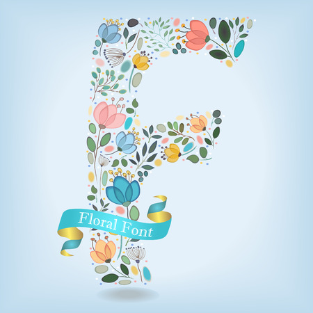 Floral Letter F. Watercolor graceful flowers, plants and blurs. Blue ribbon with golden back and white text. Vector Illustration
