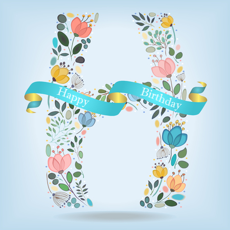 floral letter h watercolor graceful flowers plants and blurs blue ribbon with golden