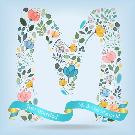 Floral Letter M. Watercolor graceful flowers, plants and blurs. Blue ribbon with golden back and white text Just Married, Mr and Mrs Marigold. Vector Illustration