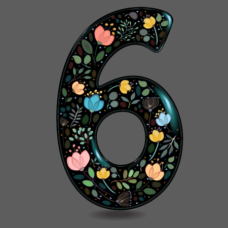 Number Six with Floral Decor. Black glared numeral. Colorful graceful flowers, plants and blurs with watercolor effect. Gray background. Illustration