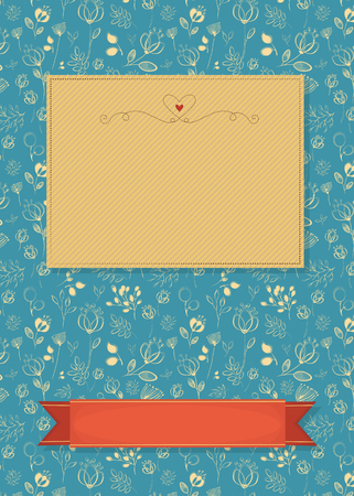 vintage postcard: Floral greeting card. Yellow flowers and plants. Yellow and red banners for custom text. Decor with red heart. Blue background