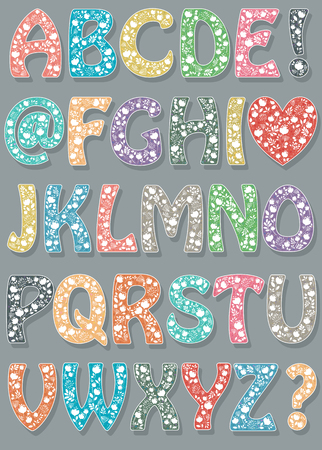 Floral colorful font. Artistic alphabet. White flowers and plants, small hearts and spray. Vector Illustration