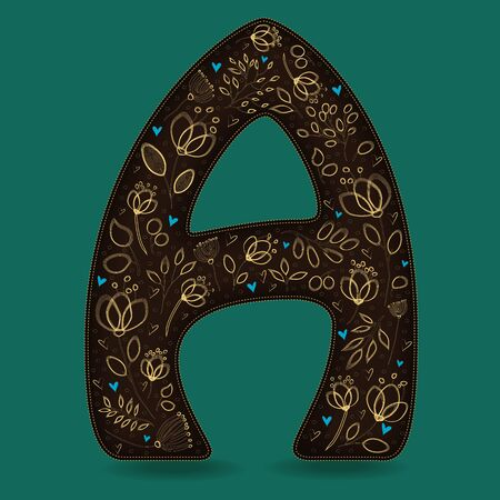 The Letter A with Golden Floral Decor. Dark brown symbol. Yellow flowers and plants with metallic blazing effect. Blue small hearts. Illustration