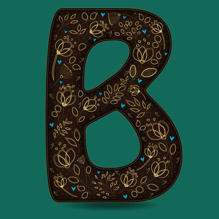 The Letter B with Golden Floral Decor. Dark brown symbol. Yellow flowers and plants with metallic blazing effect. Blue small hearts. Illustration