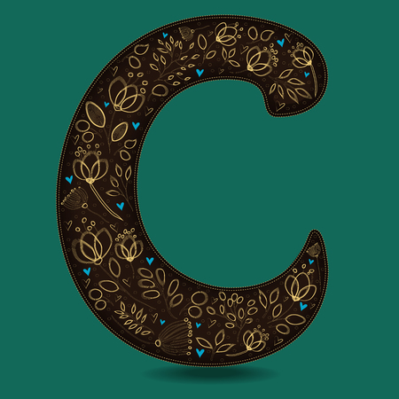 The Letter C with Golden Floral Decor. Dark brown symbol. Yellow flowers and plants with metallic blazing effect. Blue small hearts. Illustration