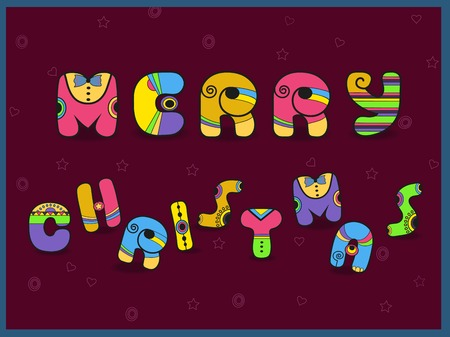 Merry Christmas. Vintage greeting card. Cartoon artistic font. Hipster style. Vector Illustration. Eps 8