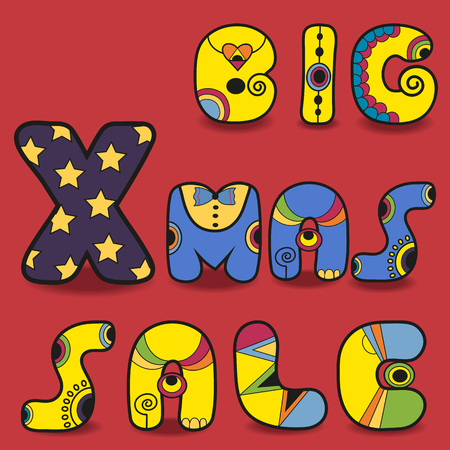 Inscription Big Xmas Sale. Funny letters. Hipster style. Colorful artistic font. Vector Illustration. Çizim