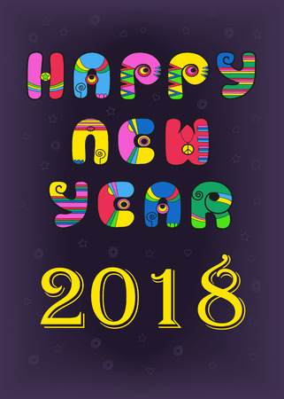 Happy New Year 2018. Artistic retro colorful font. Vector Illustration Çizim