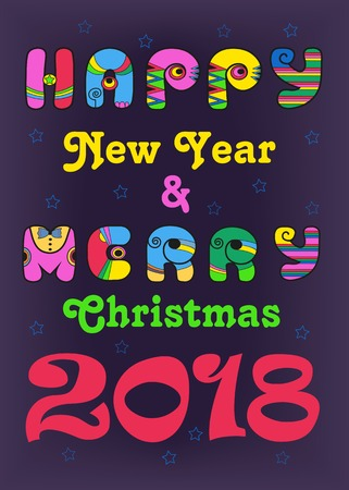 Merry Christmas and Happy New Year 2018. Artistic disco colorful font. Vector Illustration