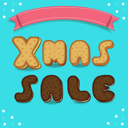 Xmas sale. Cookies font. Blue background with white stars. Red banner for custom text. Letters are as biscuits and chocolate cookies. Stock Photo