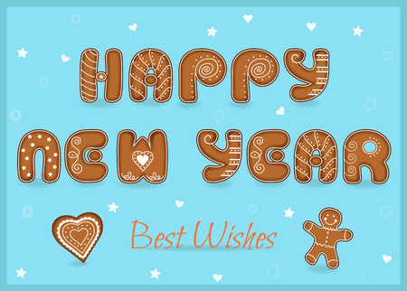 best wishes: Festive Inscription with Gingerbread letters. Happy New Year. Best wishes. Heart and gingerbread man. Unusual sweet font with white decor. Vector Illustration. EPS 8. Illustration