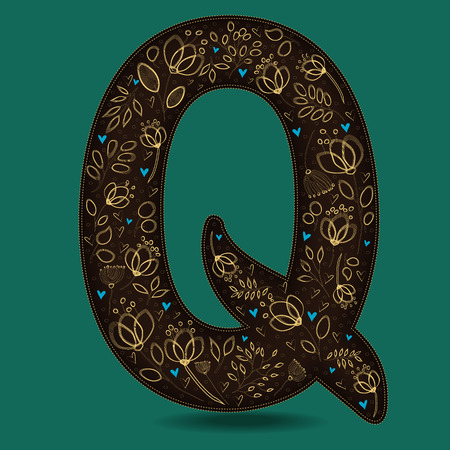 The Letter Q with Golden Floral Decor. Dark brown symbol. Yellow flowers and plants with metallic blazing effect. Blue small hearts. Illustration