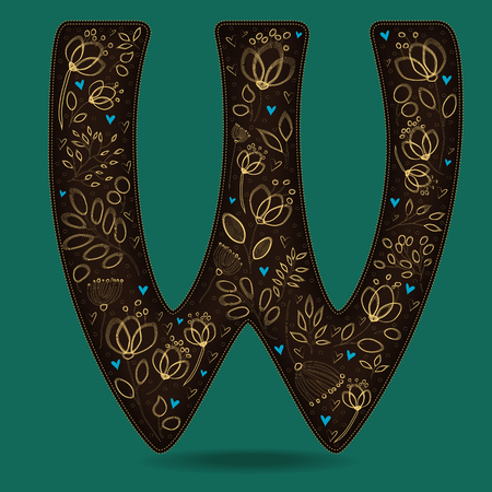 The Letter W with Golden Floral Decor. Dark brown symbol. Yellow flowers and plants with metallic blazing effect. Blue small hearts. Illustration
