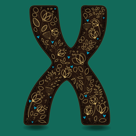 The Letter X with Golden Floral Decor. Dark brown symbol. Yellow flowers and plants with metallic blazing effect. Blue small hearts. Illustration