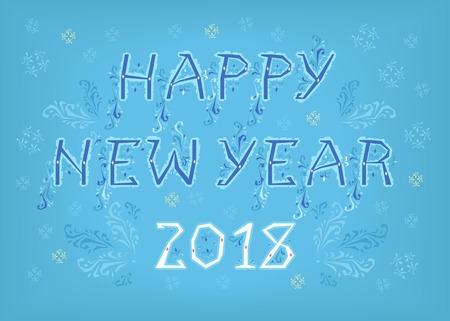 Happy New Year 2018. Folk geometric artistic font. Blue letters with ice decor. White numerals. Background with snowfall. Vector Illustration