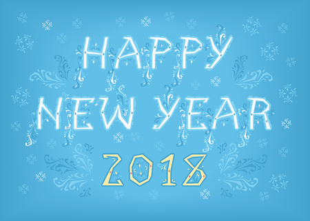 Happy New Year 2018. Folk geometric artistic font. White letters with blue decor. Yellow numerals. Background with snowfall. Vector Illustration Çizim